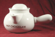 White Ceramic Hot Chocolate Stovetop Pot w/ Handle & Lid / No Frother