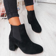 WOMENS LADIES CHELSEA ANKLE BOOTS LOW MID BLOCK HEEL SLIP ON PARTY SHOES SIZE