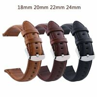 18 20 22 24mm Retro Cowhide Genuine Leather Strap Watch Band w Steel Clasp Pins