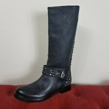 Miu Miu Motorcycle Boots Black Leather Studded New Amputee Zip Single Right 38.5