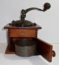 PRIMITIVE OLD WOOD & CAST IRON COFFEE GRINDER BOX MILL W/ORIGINAL SLIDE OUT CUP