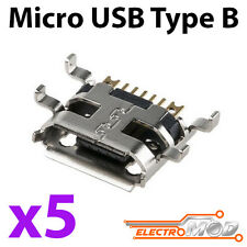5x Conector USB MICRO B Hembra SMD 90 pines acodado femele socket connetor carga