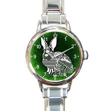 Reloj Pulsera Reloj de conejo lindas verde italiano De Dijes En Plata Con 16 enlaces