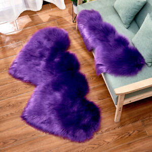 Double-Heart-shaped Carpet Faux Wool Warm Fluffy Rug Upholstery Home Modern Soft