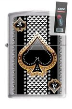 Zippo 7951 ace of spades brushed chrome Lighter + FLINT PACK