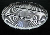 """Indiana Glass Clear Ribbed 4 Part Divided Relish 10"""" Tray Platter    VINTAGE"""