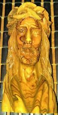 """VINTAGE OLIVE WOOD CARVED JESUS BUST FROM ITALY 8"""" TALL"""