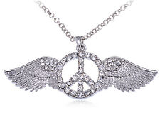 Winged Crystal Rhinestone Peace Sign Symbol Long Chain Pretty Pendant Necklace