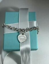 Tiffany & Co Sterling Silver Heart Tag Return To Tiffany Bracelet. 7.5 inch