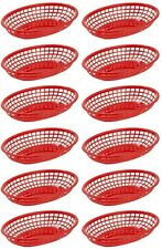 """12 Red Food Baskets Restaurant Quality 9-1/2"""" x 6"""" Perfect For Outdoor Picnics"""
