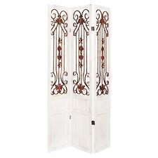 Hartleys Paravent Cloison de Séparation Rustique/Vintage 3 Panneaux Blanc/Bronze