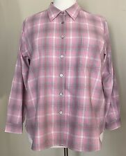 L.L. Bean 100% Cotton Flannel Shirt Pocket Long Sleeves Pink Gray Plaid Women 2X