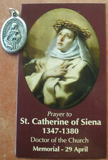 Separated Saint St. Catherine of Siena Medal & Holy Prayer Card + Stigmatist