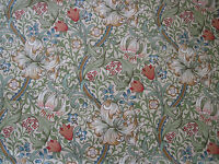 """WILLIAM MORRIS CURTAIN FABRIC """"Golden Lily"""" 2.5 METRES GREEN/GOLD LINEN UNION"""