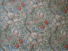 "WILLIAM MORRIS CURTAIN FABRIC ""Golden Lily"" 3.6 METRES GREEN/GOLD LINEN UNION"