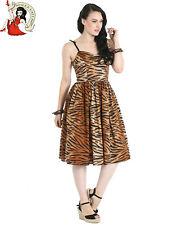 HELL BUNNY TORA 50s DRESS tiger print BROWN XS-4XL