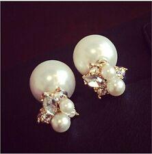 Elegant Pearl Crystal Rhinestone Fashion Charm Lady Ear Earring Stud 1Pair