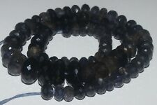 273 CARTS 7.5to13MM NATURAL GEMSTONE IOLITE FACETED RONDELLE BEADS STARND #976