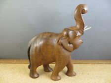 """Cute Vintage Carved Wood Elephant Lucky Trunk Up Sculpture Figurine 6 1/2"""""""