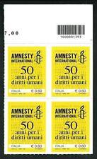 Italia Repubblica 2011 - Amnesty International - quartina con codice a barre