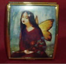 GLASS & METAL MUSIC BOX GIRL WITH BUTTERFLY
