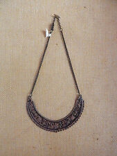 FREE PEOPLE NECKLACE HALF MOON DISTRESS BRASS CUT OUT HALF MOON NEW