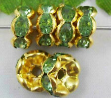 100pcs Gold Plated Cryatal Light Green Bead Caps 8mm