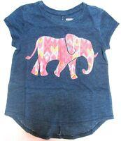 Gymboree Girls Shirt Elephant Graphic Tee Top Blue Indigo Dye Size Medium 7 8