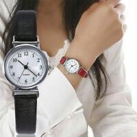 Women Girls Ladies Analog Digital Quartz Wrist Watches Round Leather Strap-
