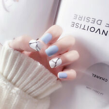 24pcs light blue acrylic fake finger nails full cover fake false nail art tip PL