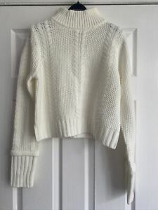 Warehouse Cropped Cable Knit High Neck Jumper In Cream Size 12 BNWT RRP £49