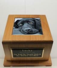 Large Dog Pet Urn Custom Tile Photo & Engraved Tag 100 Lbs Red Alder