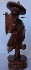 Vintage Wood Carving of Asian Man with Hat and Cup
