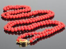 "Vintage Natural Sardinian Red Coral 5mm Bead Long 42"" Necklace, 36.3g"