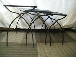 Mid Century  Russell Woodard Stackable Wrought Iron Expandable Metal Tables
