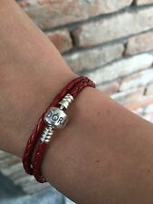 Pandora Double Red Leather Bracelet With Silver S925 Ale 40 Cm L
