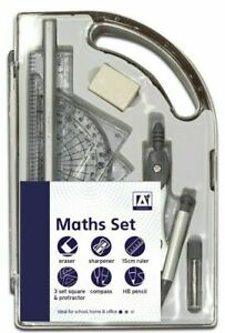 9 Piece Maths Geometry Set Back To School Exam Stationery Protractor Compass New