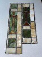 ANTIQUE CHURCH STAINED GLASS WINDOW 27x7.5 And 22.5x6.75