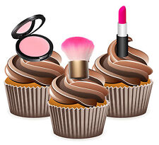 PRECUT Makeup Lipstick Blush 12 Edible Cupcake Toppers Decorations Birthday
