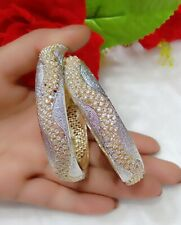 American Diamond Gold Plated Fancy Pair Of Bangle For Women's Wear Charming Gift