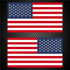 2 USA United States American Flag Sticker Decal Veteran Military Car Window