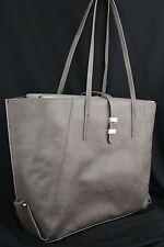Elegant Banana Republic Women Grey Faux Leather Purse Large Shoulder Handbag