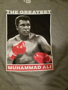 New Muhammad Ali T-Shirt The Greatest Red Gloves Graphic Tee Gray NWT 3XL