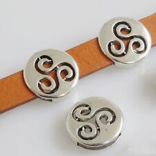 20 x Triskele Triskelion Triple Spiral Slider Spacer For 13mm Flat Leather Cords
