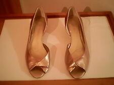 "AK Anne Klein brand gold open toe heels, 6.5 M, 1.5"" heel, leather uppers"