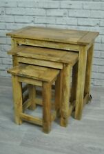 Solid Hardwood Oak Coloured Nest of 3 Tables - Thick Rustic Lamp Tables