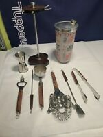 set vintage mid century modern bar ware tools glass shaker wood handle w rack