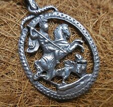 800 Sterling Silver Pendant Figural Necklace St George Slaying the Dragon 2 OZ