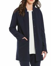 Eileen Fisher Midnight Textural Cotton Tencel Stretch Stand Collar Jacket M NWT