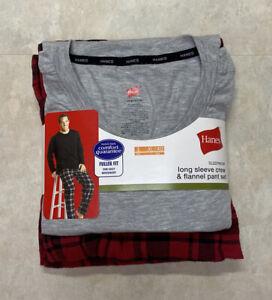 Hanes Men's XL Gray Long Sleeve Crew and Plaid Flannel Pant PJ Set